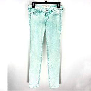 Hollister Aqua Mint Acid Wash Skinny Jeans Sz 3R